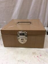 Mid Century metal storage file box vintage Tan Excelsior 9x9x4.5 locks With Key