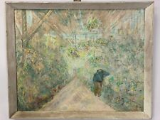 California 1959 Greenhouse Painting Signed Listed Artist Ellen Thomas 1895-1972