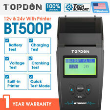 TOPDON BT500P Battery Tester with Printer Battery Load Test Charging Cranking US