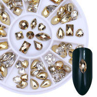 DIY Double-sided Nail Art Rhinestone Marquise Heart Studs 3D Decoration in Wheel