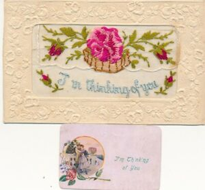 WW1 SILK EMBROIDED POSTCARD I AM THINKING OF YOU + INSERT