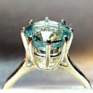BEST QUALITY! 3.35 ct NATURAL AAAAA..AQUAMARINE RING 925 S-G SILVER.SIZE 7.75.