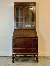 More details for a rare & beautiful 100 year old antique edwardian oak bureau bookcase. c1920