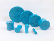 PAIR Turquoise Organic Stone Plugs Gauges - up to 38mm available!