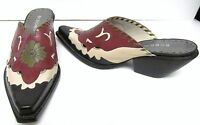 BCBG BCBGirls Mules Shoes Boots Leather Western Cowboy Slip On Brazil  5.5
