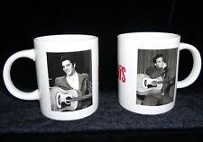 Elvis Presley Set of 2 White Coffee Mugs Elvis Red Lettering W Guitar Photos