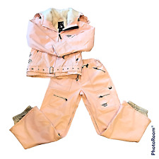 Womens Roxy Size Medium Pink Floral Set Snowboarding Jacket and Pants Outfit Ski