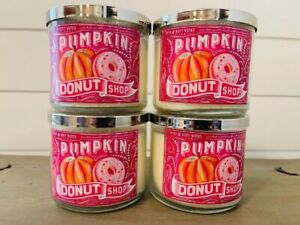 4 Bath & Body Works Candle Pumpkin Donut Shop 3 Wick 14.5 oz New