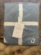 NEW Pottery Barn Belgian Flax Linen Diamond Quilted KING Sham Blue Chambray