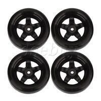 4pcs Black 5 Spoke Wheel Rims & Smooth Tires for RC 1:10  Drift Car Plastic