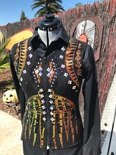 Western pleasure trail Reining sequin horse show Vest Gold Iridescent & Black