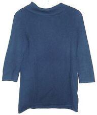 Sutton CASHMERE Sz S Sweater Top Shirt BLACK Elbow Sleeve Button Collar HOLE