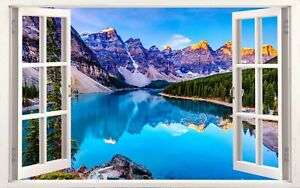 Lake Louise Canada Mountains 3D Effect Window Canvas Picture Wall Art Prints