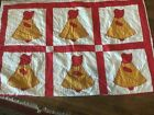 Vintage Quilt Sunbonnet Sue 66'x90' Red & YellowColors 12 blocks Very Nice !!