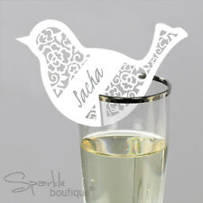 BIRD PLACE NAME CARDS FOR GLASS x 10 -Shabby Chic Placecards-FULL RANGE IN SHOP