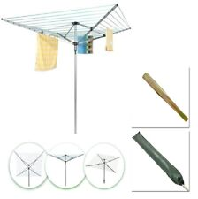 60m Washing Line Outdoor 4-Arm Rotary Clothes Airer With Cover & Ground Spike