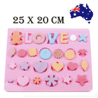 AU Silicone Mould LOVE Heart star Cake Baking Chocolate Mould Valentine'S Day