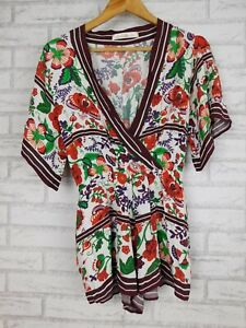 Shakuhachi Playsuit jumpsuit Brown, red, green floral print V-neck Kimono sleeve