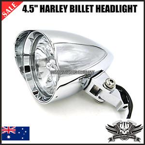 "4.5"" Chrome alloy Billet headlight Harley sportster dyna chopper victory softail"