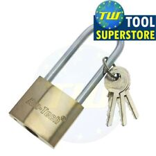 Amtech 38mm Long Shackle Brass Barrel Padlock Security Lock 3 Keys 6mm Steel