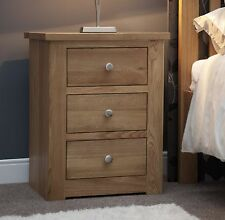 Vermont solid oak bedroom furniture three drawer narrow bedside cabinet