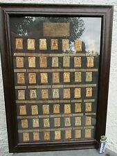 49 alte Phra Somdej Buddha Ton Amulett Sammlung Holz Bild Rahmen Thailand ~1960