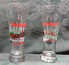 """BUDWEISER~1989~2~ANHEUSER BEER GLASSES WITH CLYDESDALES~ CHRISTMAS~7.25"""""""