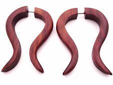Faux Ecarteur Bois Boucle d'oreille Piercing Wooden Gauge Earring Fake paire