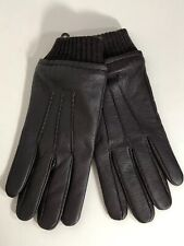 Stewart of Scotland Mens Leather Gloves Fleece Lined Wool Blend Cuff Brown Sz L
