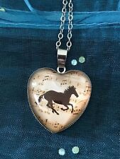Sheet Music Horse Glass Dome Cabochon Heart Pendant Necklace. NEW