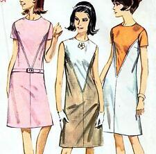 "Vintage 60s Mod DRESS Sewing Pattern Bust 34"" Size 10 RETRO Shaped Yoke A-LINE"
