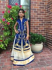"22"" Age 2 3 Size Lehenga Choli Indian Bollywood Kids Dress Girls Skirt Blue Gold"