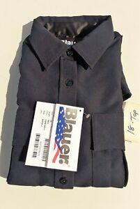 Blauer 8600W-Z Dark Navy Zipper Front Long Sleeve Uniform Shirt
