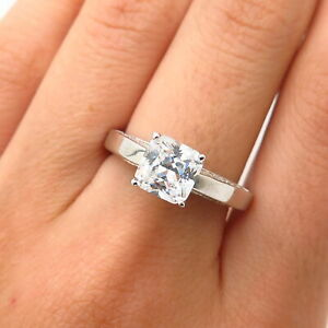 925 Sterling Silver Swarovski Crystal Classic Square Engagement Ring Size 8