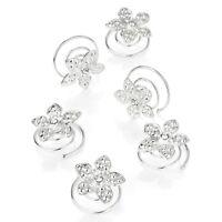 Six Silver & Crystal Flower Hair Twists Swirls Coils Party Bridal Girls Ladies