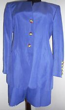 ESCADA Vintage Royal Blue Golf Shorts Jacket Suit Leather Yellow Red  38 8