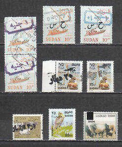 SUDAN   1993/2018  CURRENCY CHANGE 9 OVERPRINTED STAMPS