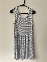 Old Navy Women's Tank Top Swing Dress Small Black White Striped Sleeveless