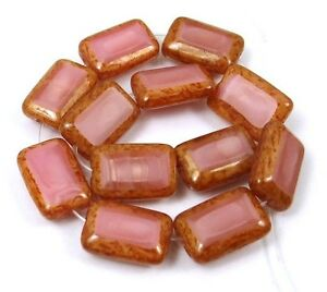 12x8mm Czech Glass Rectangle Beads Coral Pink - Picasso (12)