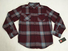 NWT Quiksilver Boys M 12 Burgundy Plaid Brushed Button Front Shirt