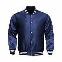 Letterman Baseball College Varsity Bomber Sports Wear Super Jacket Navy Satin