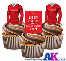 Manchester United Keep Calm Edible Cup Cake Toppers Birthday Decorations Boys