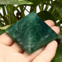 Natural Fluorite Pyramid Crystal Healing Display Quartz Specimens Stones Decor
