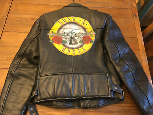 Guns N Roses Leather Jacket  Bullet Logo - Rare Axl Slash Duff