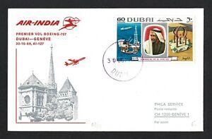 U.A.E 1969 Cover FDC. DUBAI - GENEVE Flight