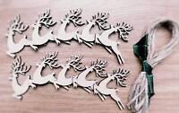 Wooden Reindeer Shapes Lasercut Craft Xmas Wedding 10 Pack,6 cm decoration