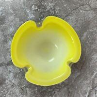 Murano Barbini Bullicante MCM Italian Art Glass Lemon Yellow Gold Bowl Bubble