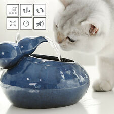 Pet Ceramic Automatic Electric Water Fountain Dog Cat Drinking Bowl Tank USBPlug
