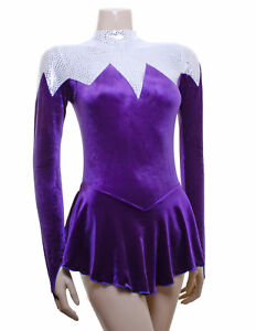Ice / Roller Skating Dress - Purple Velvet/Silver Tile *NEW DESIGN*