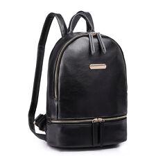 Women Faux Leather Shoulder School Backpack Handbag Travel Tote Bag Black